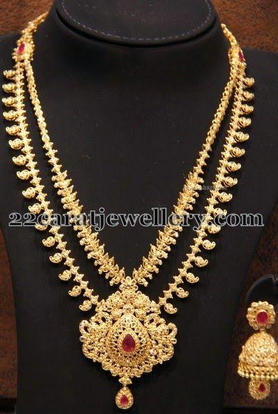 Jewellery Designs: Paisley Motifs Uncut Haram with Jhumka