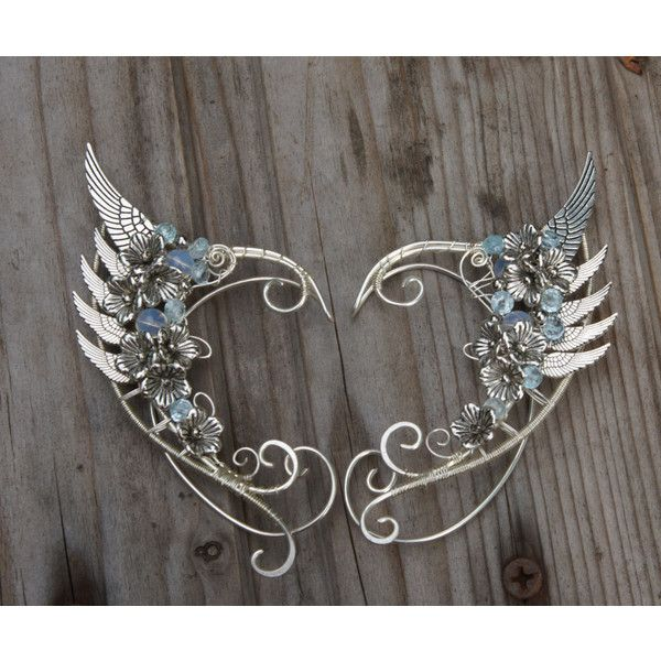 Angel wings. Elven ears (a pair Earcuffs, Elf ears, fantasy decoration... ($63) ❤ liked on Polyvore featuring jewelry, earrings, hoop earrings, angel wing earrings and angel wing jewelry