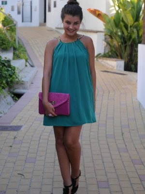 amaya-t Outfit   Verano 2012. Combinar Vestido Verde botella amayaT., Cartera Rosa oscuro Aldo, Cómo vestirse y combinar según amaya-t el 12-7-2012