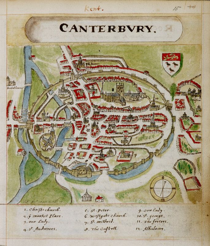A historic plan of Canterbury, dating from 1588. Marked on the colour map are landmarks including several churches: Christs Church,  St Andrews, St Peter, St Mildred, St George and the market place.