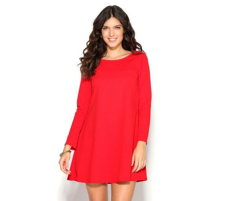 Jednobarevné rozšířené šaty s dlouhými rukávy | modino.cz #ModinoCZ #modino_cz #modino_style #style #fashion #dress