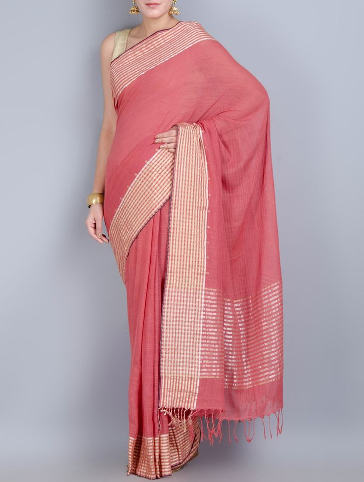 Buy Pink Khadi Cotton Zari Border Handwoven Saree Sarees Woven Online at Jaypore.com