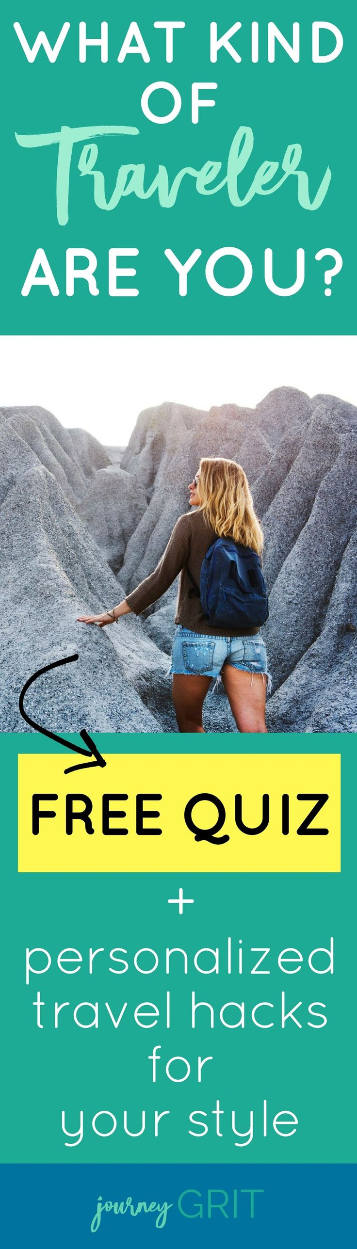 So what kind of traveler are you? Take this travel quiz to find out! *PLUS* You'll get personalized hacks tailored by me sent directly to your inbox based on your personal travel style. #travel #traveltips #travelhacks #travelquiz #journeygrit / travel planning / travel ideas / destination ideas / travel quiz / quiz