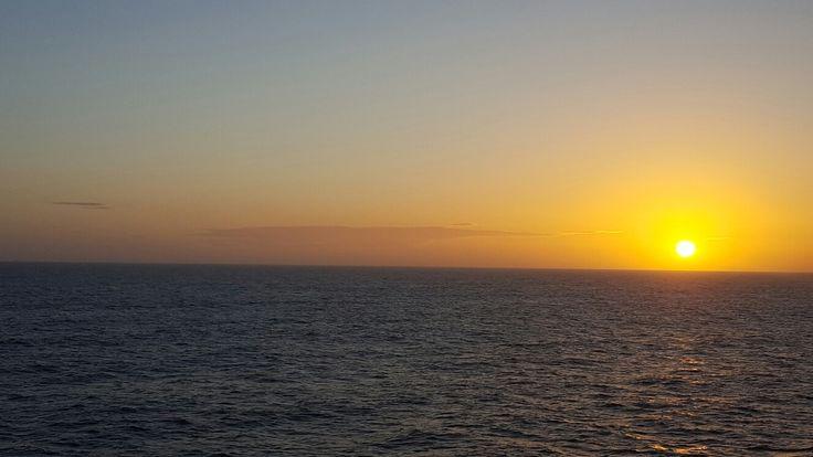 The midnight sun in the Northern Sea