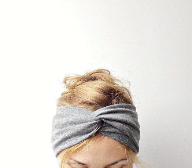 Turban - Stirnband grau // grey turban, head band by surlenuage via dawanda.com