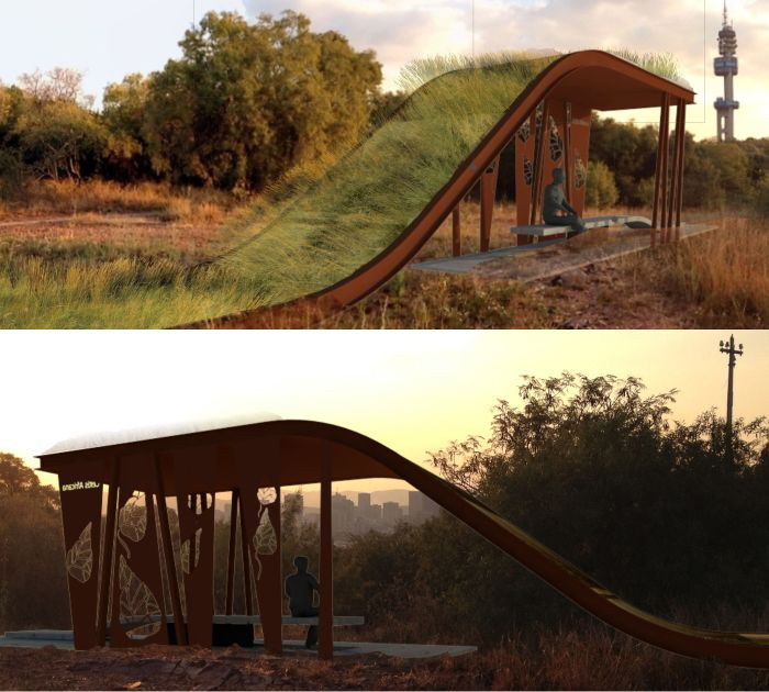 Kruinpark Pavilion + Benches by Wilkinson Architects