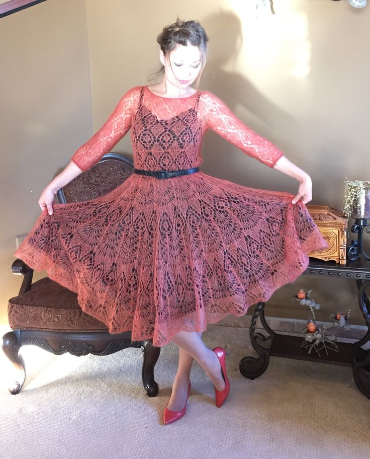 Mohair/ silk lace dress, hand knitted