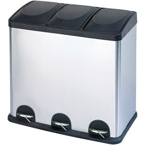 Step N Sort 16-Gallon 3-Compartment Stainless Steel Trash and Recycling Bin