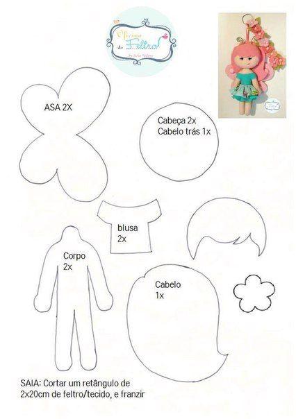 Como hacer muñecas hadas de fieltro
