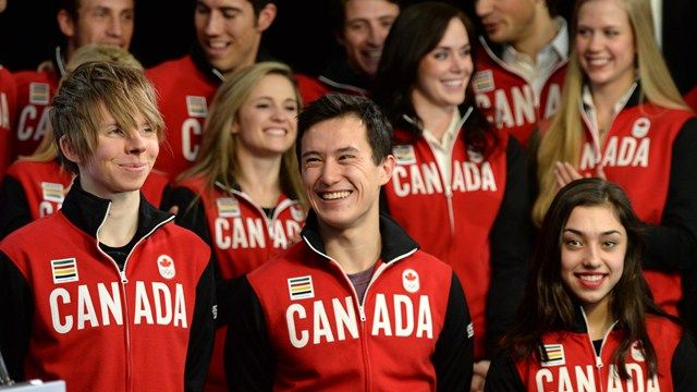 Kevin Reynolds, (bottom row, left to right) Patrick Chan and Gabrielle Daleman of Newmarket, Ont., are joined by teammates