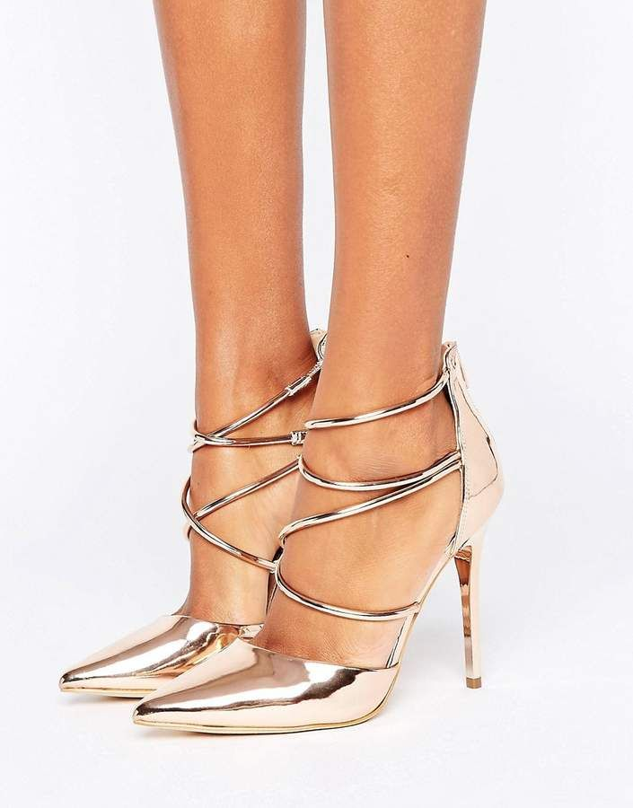 aa4dba3a5458 Office Spears Rose Gold Cross Strap Heeled Shoes - Rose Gold Mirror  asos