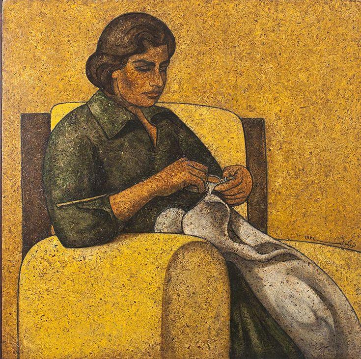 Louay-Kayyali_Woman-Sewing.jpg (1006×1000)