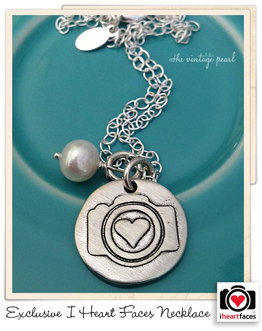 Exclusive I Heart Faces Hand-Stamped Camera Necklace by The Vintage Pearl.