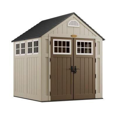 Suncast Alpine 7 ft. 2 in. x 7 ft. 6 in. Resin Storage Shed-BMS7775 at The Home Depot for the chickens, put hinges on the inside of windows to allow opening (push out)
