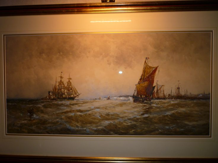 "Frank Henry Mason : Water Colour : Boats off Scarborough : 35""x17"" excluding mount and frame. [I know its a dreadful photo, but the painting is large and just one of his best!]"