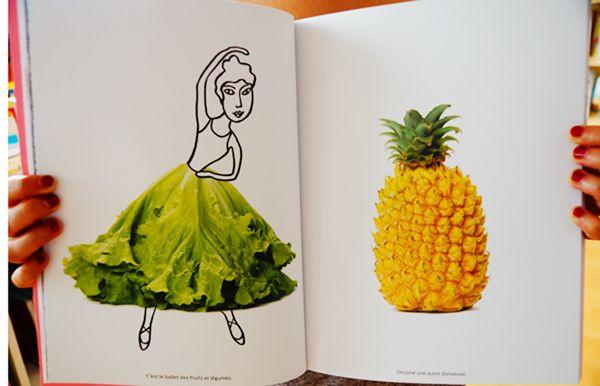'Mon album de photos à dessiner et à colorier' (My photo album to draw and color) by Pascale Estellon. Lettuce skirt!