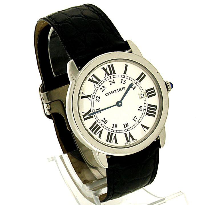 Cartier Ronde Solo. Refnr: 2934 - article number: CA0400 #watch #cartier #cartierwatches | cartier watches mens | cartier watch for men | mens jewelry | vintage watches | vintage horloges | horloges heren | SpiegelgrachtJuweliers.com