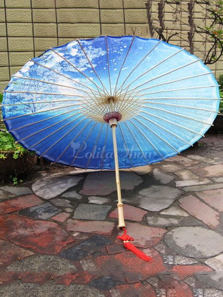 Chinese Style Lolita Umbrella Blue Chinese Oiled Paper Umbrella