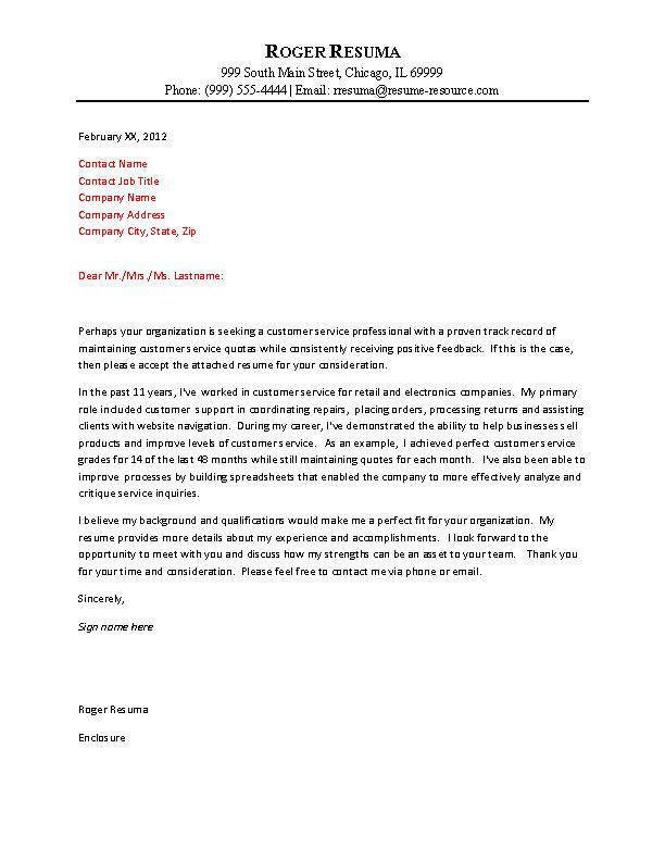 Customer Service Cover Letter Example  Simple Cover Letters