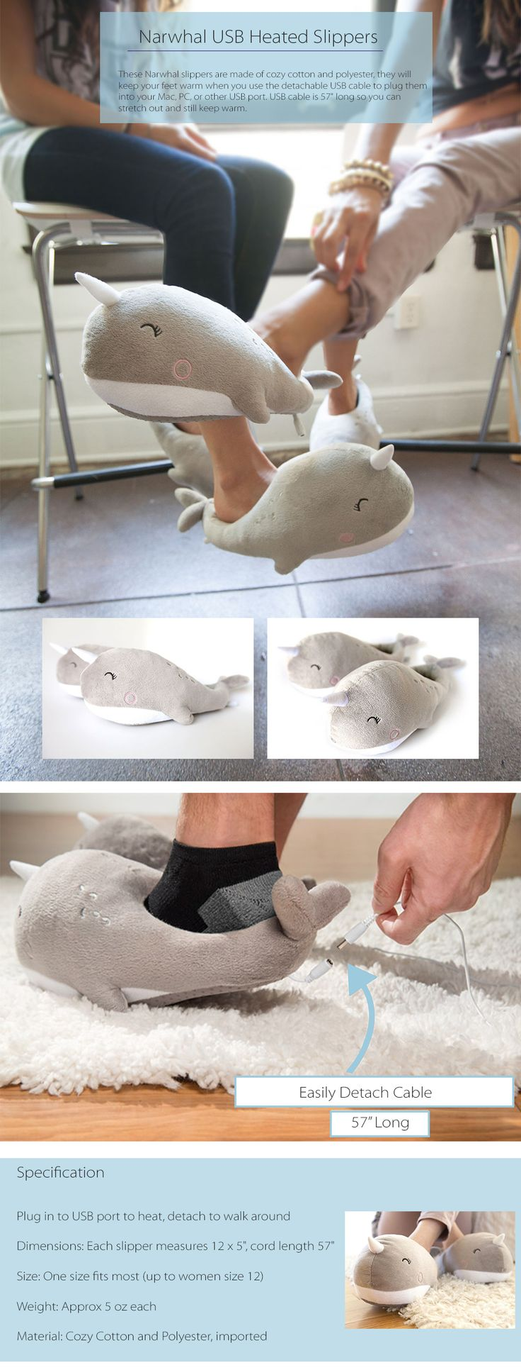Narwhal USB Heated Slippers Perfect Gift For Your Kids