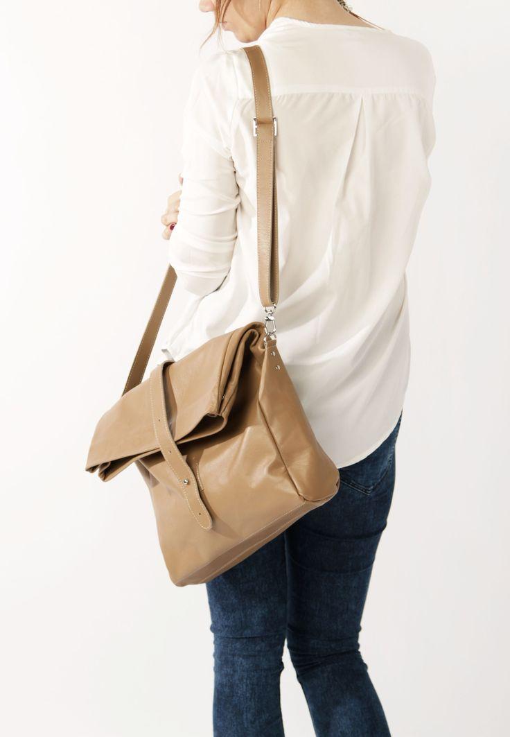 Beige Crossbody Bag by A-Rada /  Large Leather Bag / Кожаная сумка кросс-боди