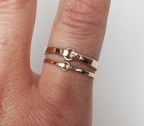 Heavy Gauge Hammered Gold Filled Ring - Gold Ring - Stacking Rings - Wedding Band. $20.00, via Etsy.