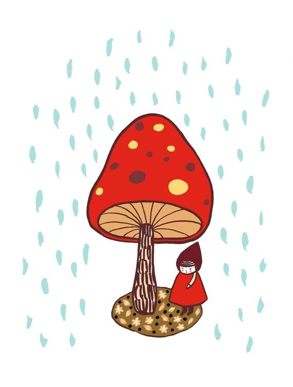 Hiding From the Rain  Art Print by pipodoll on Etsy, $18.00