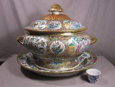 37 CM canton famille rose chinese porcelain soup tureen HAMAZING RARE no vase