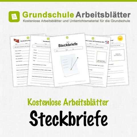 Kostenlose Arbeitsblätter und Unterrichtsmaterial für den Deutsch-Unterricht zum Thema Steckbriefe in der Grundschule.