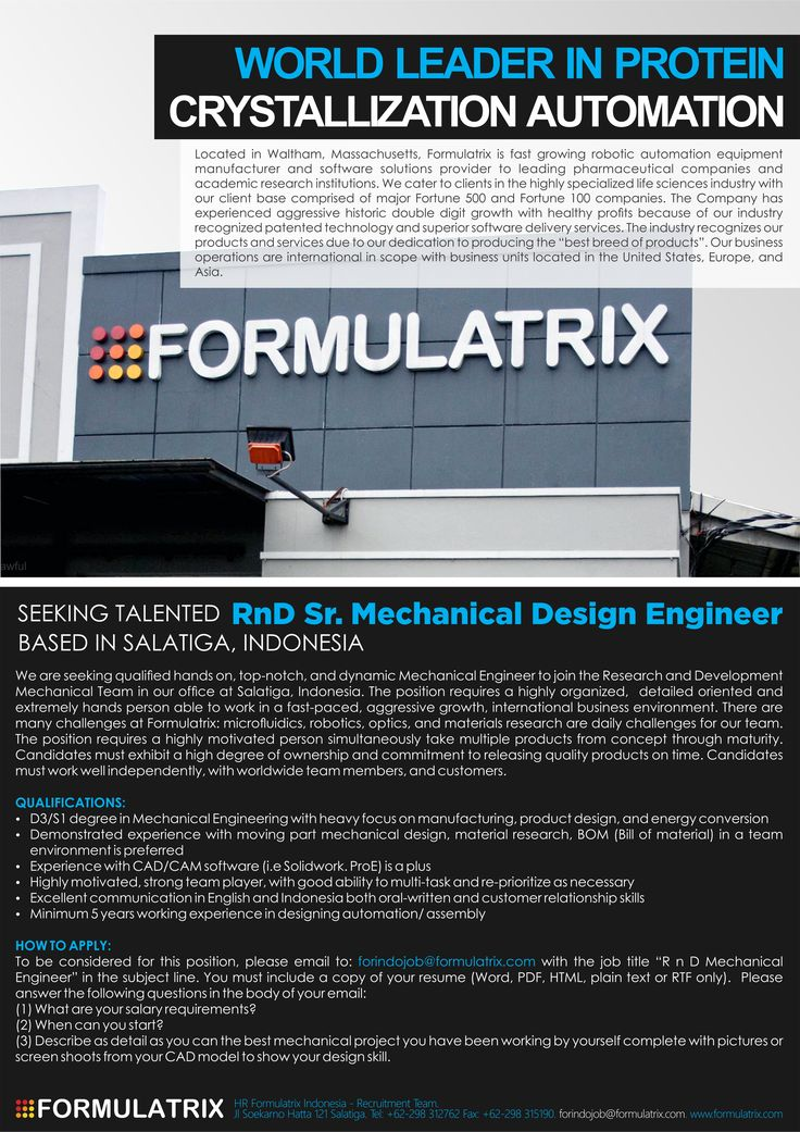 Formulatrix Indonesia is OPENING! 3 #vacancy as  Software Quality Assurance, Software Quality Assurance (Automation Engineers) and RnD Software Engineer (Mid Level) >> http://bit.ly/1pSW0M4 DEADLINE: 31 Mar