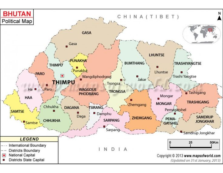 political map of bhutan illustrates the surrounding countries with international borders 20 districts boundaries with their capitals and the national