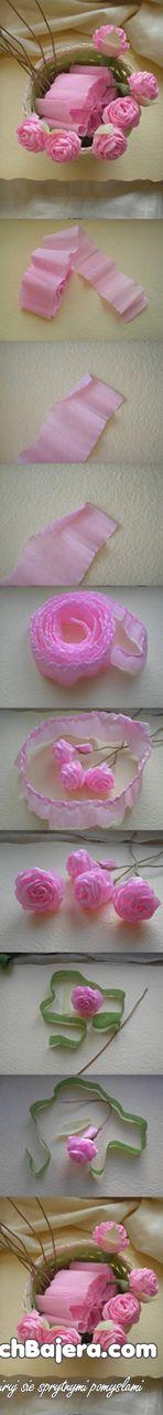 vaaleanpunaiset ruusut kreppipaperista