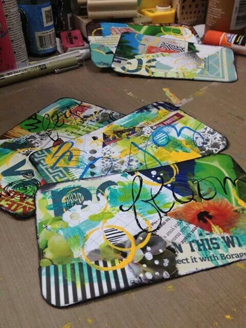 #papercrafting #tag art: Diane's Mixed Media Art - Mail art - these are a magazine and junk mail bits on index cards. So clever...