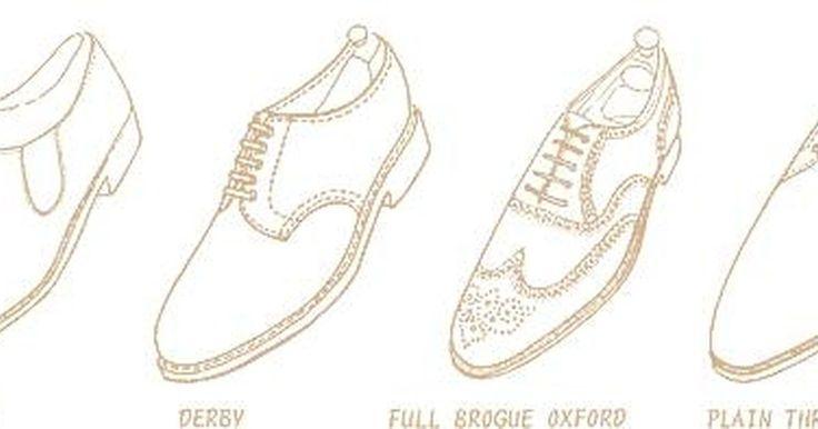 Cómo diseñar zapatos de hombre. Los zapatos de hombre vienen en una variedad de estilos. Están los zapatos tipo Oxford, los tipo brogue, los mocasines, los Derby, las zapatillas y los náuticos. El tipo Oxford es el calzado clásico de vestir con cordones que llega al tobillo. El zapato tipo brogue es de cuero con tacón bajo, con una puntera parecida a la letra W. Los mocasines ...