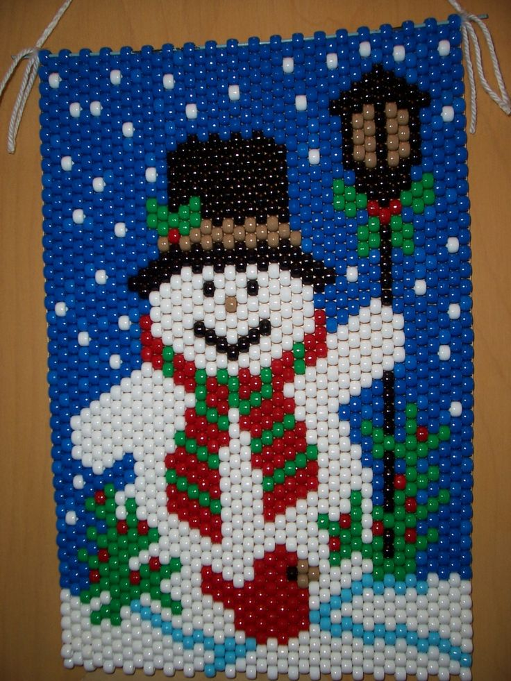Snowman And Cardinal Beaded Banner Banners Etsy And