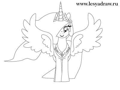 Как нарисовать пони Дружба это чудо принцесса Селестия