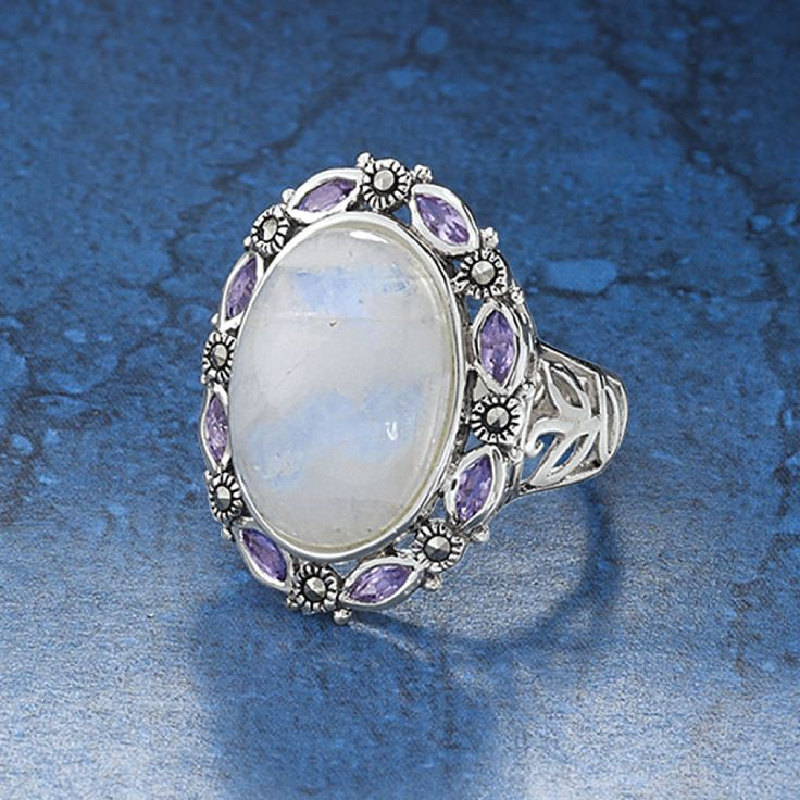 Moonstone Amethyst and Marcasite Sterling Ring - New Age, Spiritual Gifts, Yoga, Wicca, Gothic, Reiki, Celtic, Crystal, Tarot at Pyramid Collection
