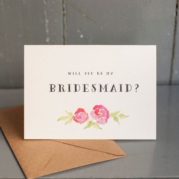 Will You Be My Bridesmaid - Watercolor flowers, bridesmaid invitation, kraft paper envelope, 5x7 folded card with envelope, floral