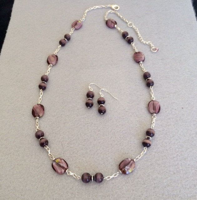cats eye purple bead necklace set silver purple necklace earring set purple amethyst glass bead necklace set jewelry set gift for her mom - Necklace Design Ideas