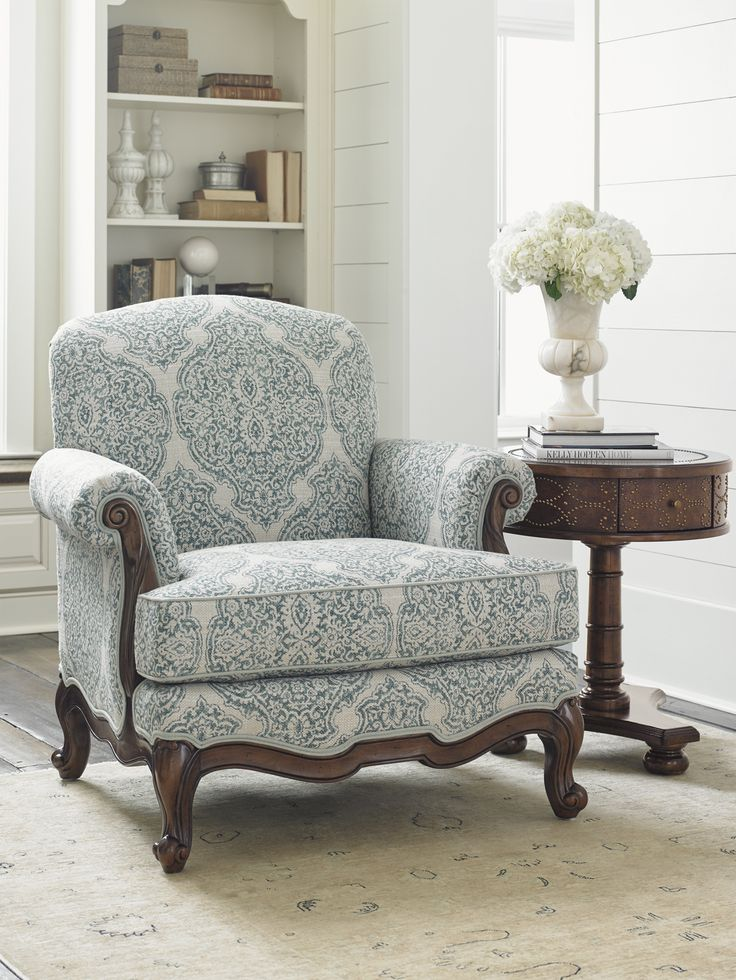 The Abbey Chair Featuring A Blue And White Paisley Fabric And Rich, Dark  Finish.