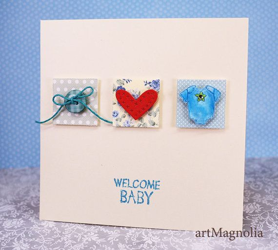 Welcome Baby Boy Handmade Cards with Red Heart, Baby Shower Cards, Congratulations Baby Cards, Welcome Baby, New Baby, Its a boy