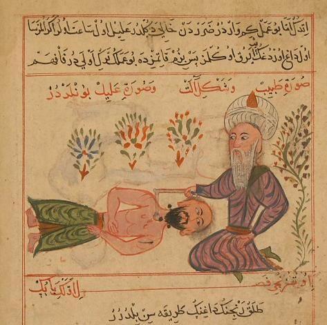 Şefareddin Sabuncuoğlu'nun Cerrahatü'l-Haniye adlı eserinde hekim hastasını tedavi ederken görülüyor. 15.yüzyıl. Cerahatulhaniye - Osmanlı tıbbı - Vikipedi
