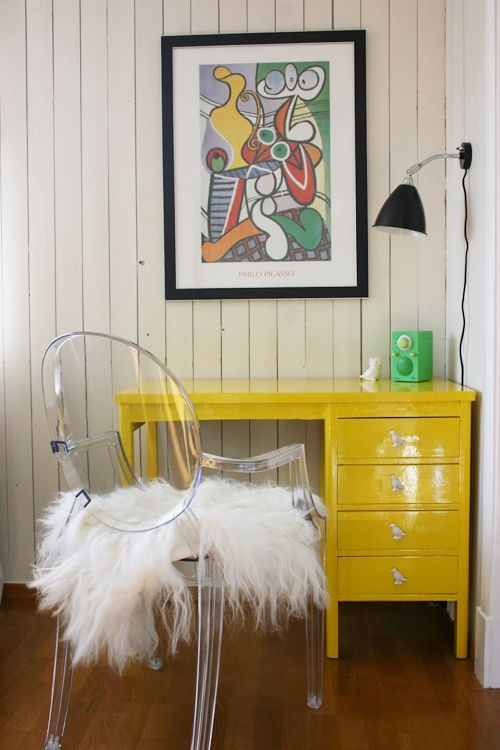 yellow desk, cute office space