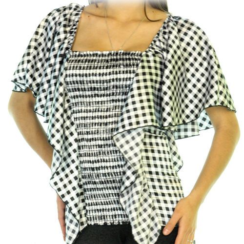 Womens Black And White Checkered Square Neck Batwing Top Blouse Kaftan Tops