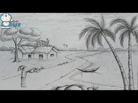 How to draw scenery of rainy season by pencil sketch step by step - YouTube