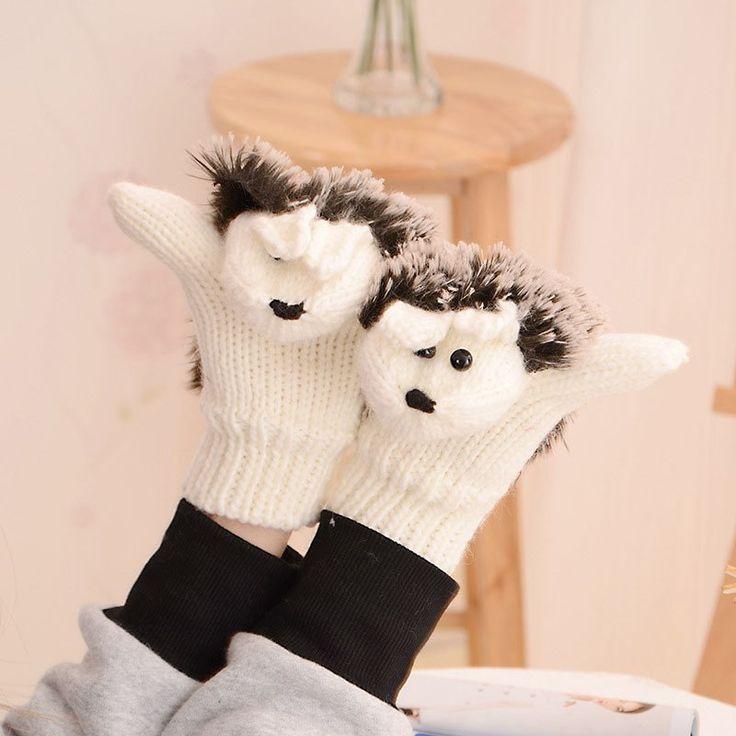#aliexpress, #Winter, #Gloves, #Women, #Fitness, #Gloves, #Hedgehog, #Heated, #Villus, #Mittens, #7Colors, #Novelty, #Cartoon, #Mitaine, #1ST6101