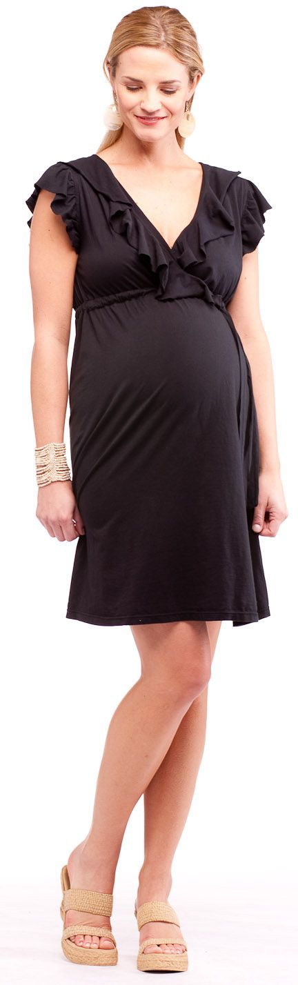 LA Made Maternity Faux Wrap Dress with Ruffle | Maternity Clothes www.duematernity.com