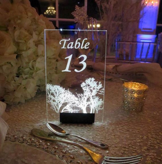 Table Number --CUSTOM to your WEDDING THEME-  Glow - Illuminated  - engraved acrylic