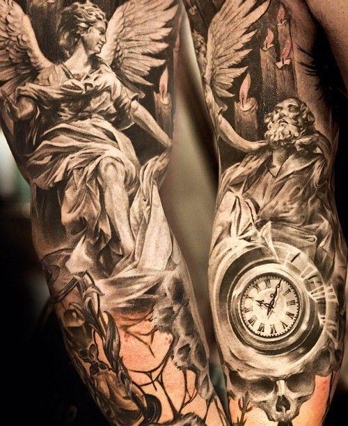 angel tattoo sleeve                                                                                                                                                     Más