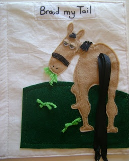 Kids Quiet Book - she does some neat pages like this one for braiding the horse tail.  Very cute!  Inspirational!